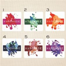 Watercolour Style Mini Sticker Set Text Reads Handmade